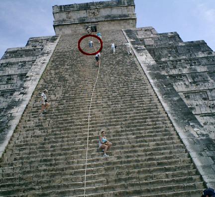 Climbing Chichen Itza pyramid